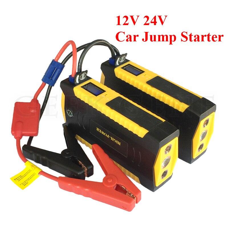 Best Multi-Function 12V 24V Petrol Diesel Car Jump Starter Portable 4USB Power Bank Mini Compass SOS Lights Auto EPS Free Ship
