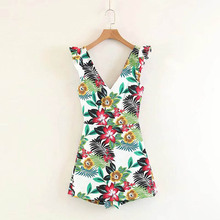 NiceMix Sexy backless boho jumpsuit women floral print Summer v neck casual praty jumpsuits for 2019 romper