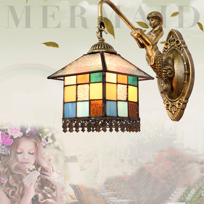Tiffany bedroom bedside lamp wall lamp lamp European Mediterranean small house lighting retro creative Wall Lamps DF79