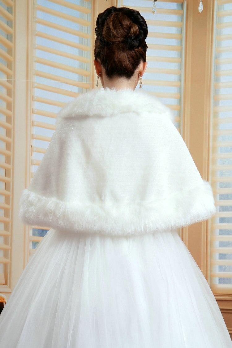 Image 3 - New Women Bridal Shawl Fur Faux Fur Wrap Elegant Warm Bolero Fox Tail Wedding Wrap Bridal Jacket Coat Winter Fur Cape OJ00189-in Wedding Jackets / Wrap from Weddings & Events