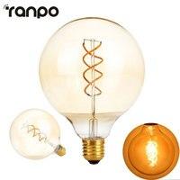 Edison Żarnika Żarówka Led E27 G125 Ściemniane AC 220 V Spirala światła Amber Retro Saving Lamp Vntage Lamprada Pod Światło żyrandol