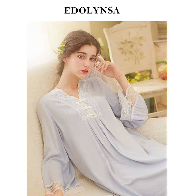 2f8feebcd48 Vintage Mandarin Collar Night Dress Long Sleeve Nightgown Autumn Sleepwear  Women Home Wear Sleep Shirt Plus