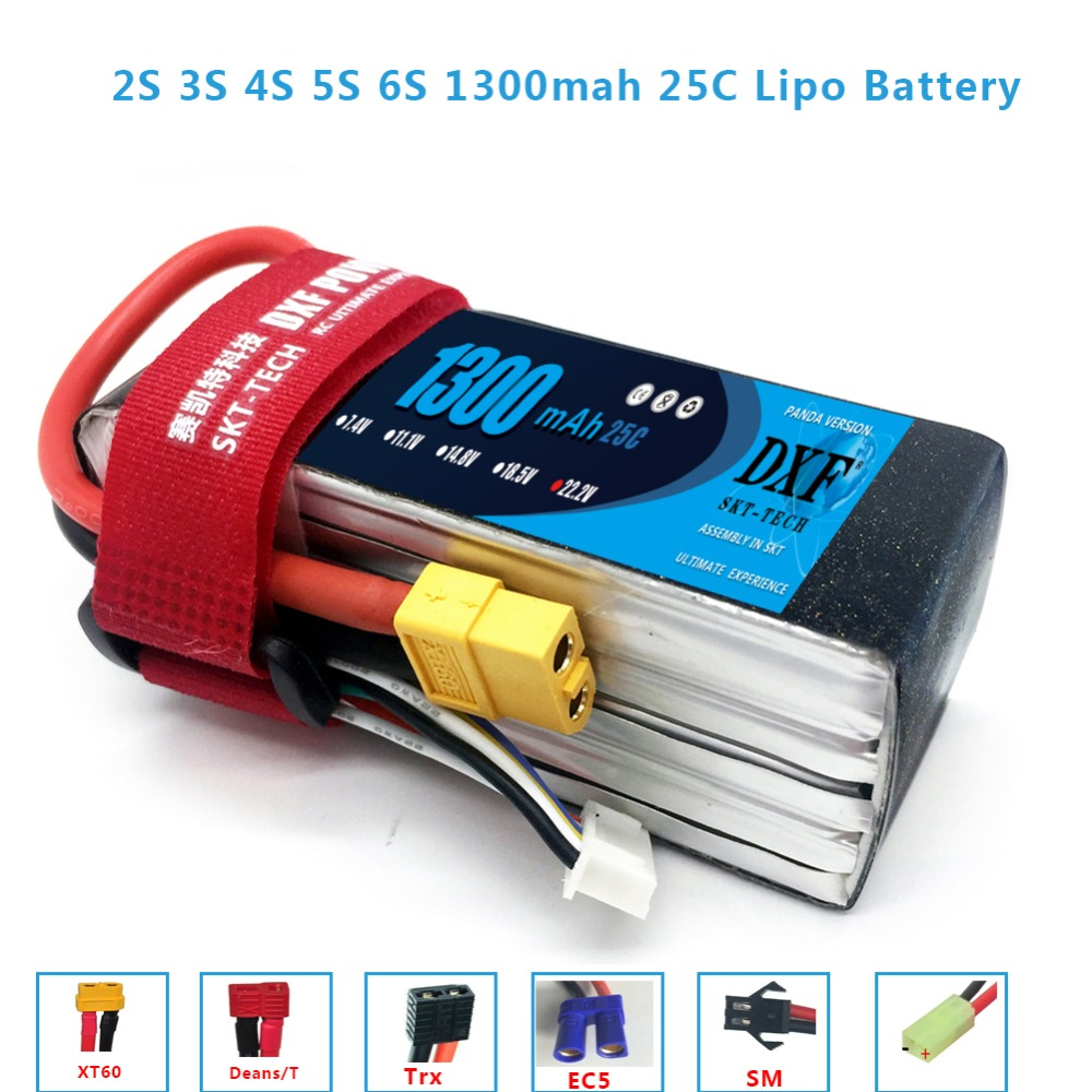 DXF Lipo Battery 2S 3S 4S 5S 6S 7.4V 11.1V 14.8V 18.5V 22.2V 1300mAh 1500mah 25C 35C 100C 110 For Racing Drone FPV Quadcopter