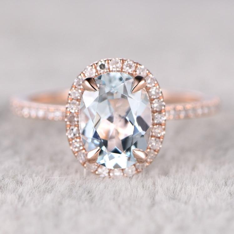 Natural Blue Aquamarine Ring! Engagement ring Rose gold White Topaz Bridal ring,14k,6x8mm Oval Cut,Blue Gemstone Promise Ring