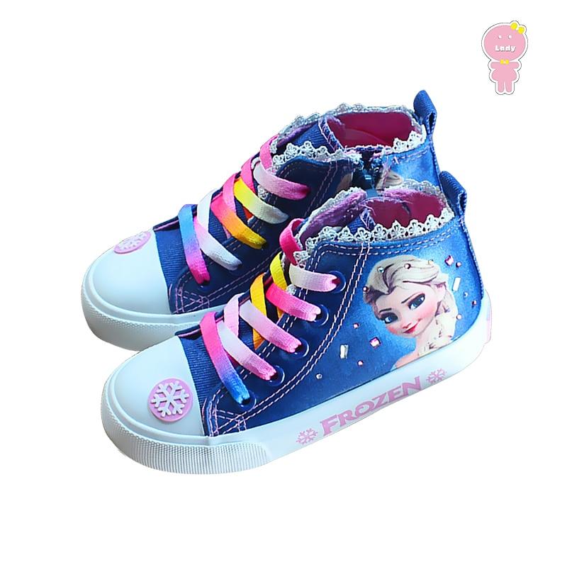 Spring Autumn denim faux crystal cartoon elsa anna colored lacing girls canvas shoes kids high cut shoes children 15.5-21.5cm elsa shoes сандалии