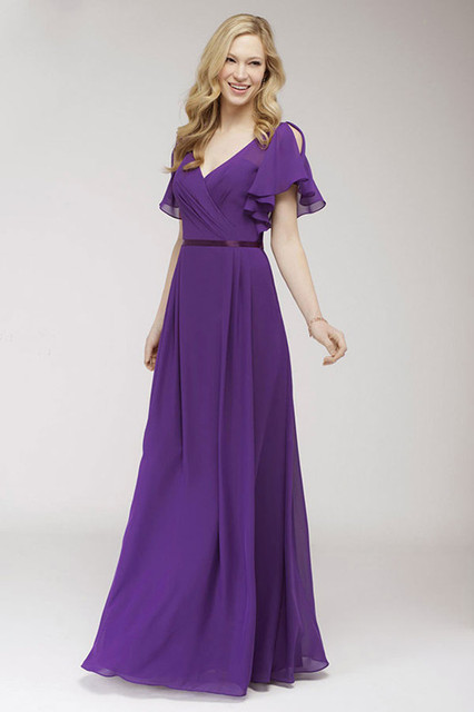 81f935e18b US $102.0 |Newest V Neck Long Junior Bridesmaid Dresses Purple Chiffon Maid  of Honor Dresses Vestido De La Dama De Honor For Wedding on Aliexpress.com  ...