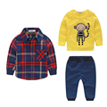 New Fashion plaid Baby Boy sets Children Clothing Set Kids clothes Shirt+t shirt+pants Vetement Garcon B0515