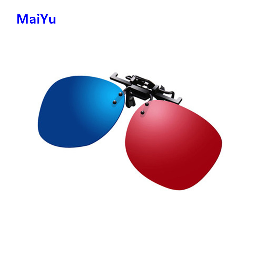 Professional Sport Red Blue 3D Glasses Clip On VR Movie Lens Virtual Reality Lens Show Style for Home Cineam Games with Box 4015