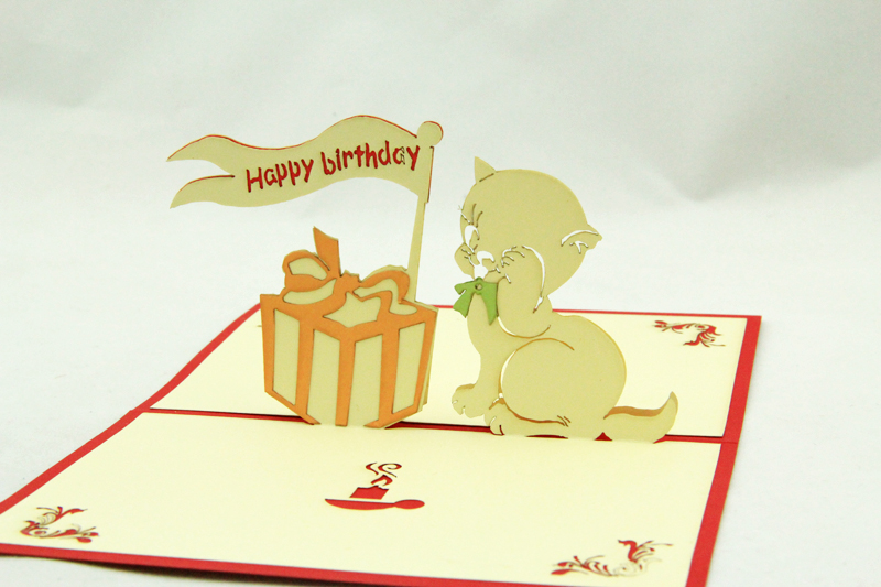 2017 Creative Lace Cut 3D Card Birthday Invitation Post Cards Pop Up Cute Cat & Gift Box Card For Kids Pokemon Cards 11CM*15CM
