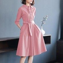Moda Pembe kadın elbiseleri İpli Yay Bayanlar Robe Femme yazlık gömlek Elbiseler Zarif Vestidos Kadın Ofis Giyim