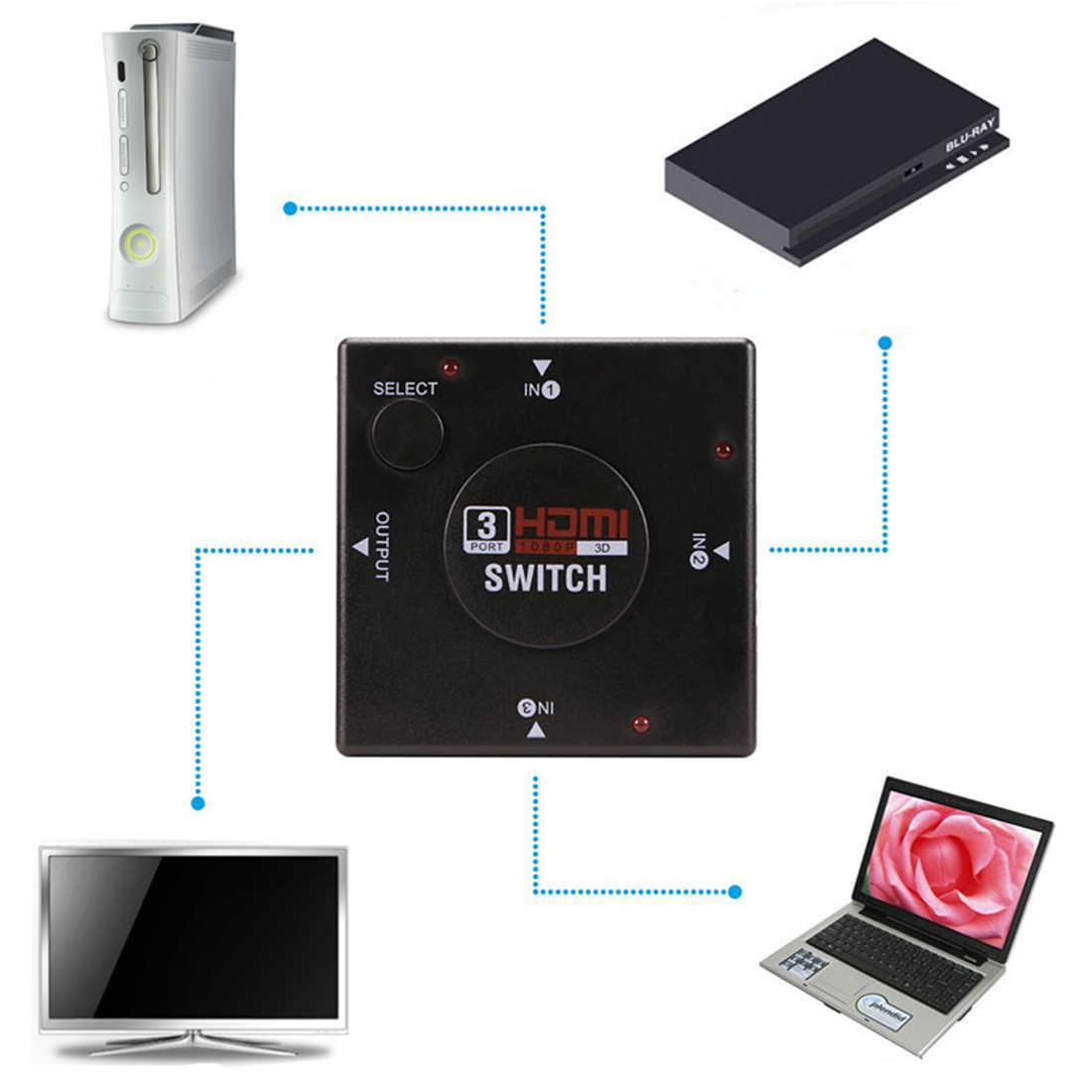 Centechia Mini 3 Port HDMI Switch Switcher Splitter 3 Input 1 Output Box HDMI Selector untuk PS3 PS4 Smart HDTV 1080P
