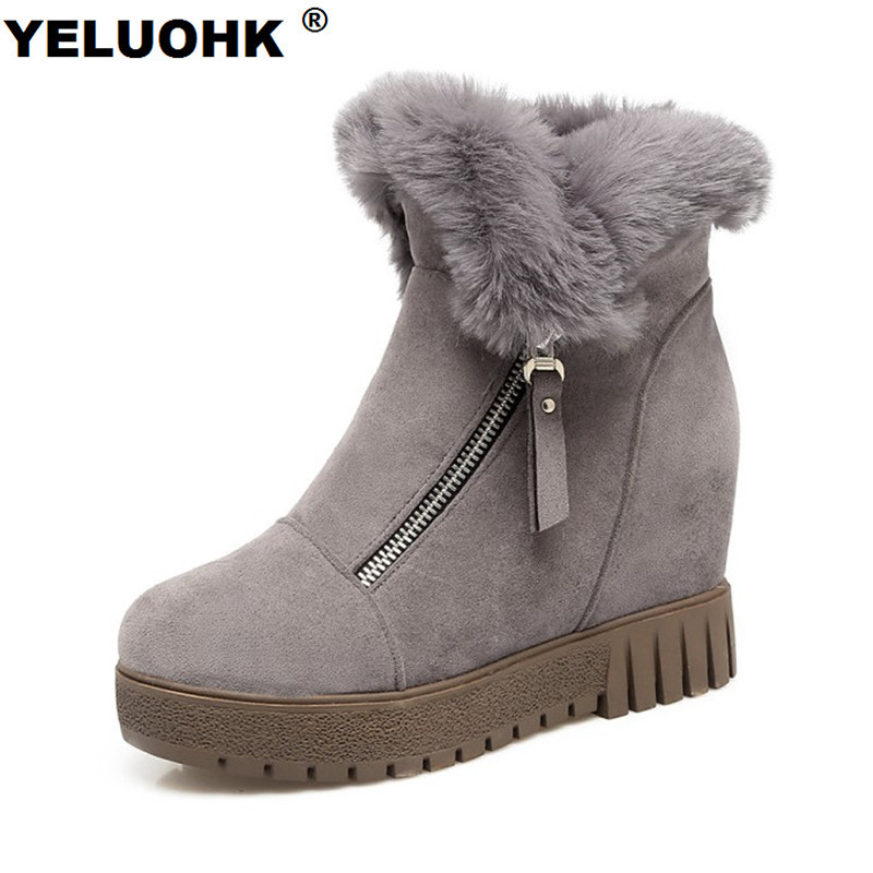 Large Size Ankle Boots Platform Shoes Woman Warm Fur Snow Boots Women Wedge Shoes Casual Shoes Woman Winter Platform High Heel 2017 women casual snow boots fur warm winter round toe knee high boots wedge heel anti slip height increase platform shoes