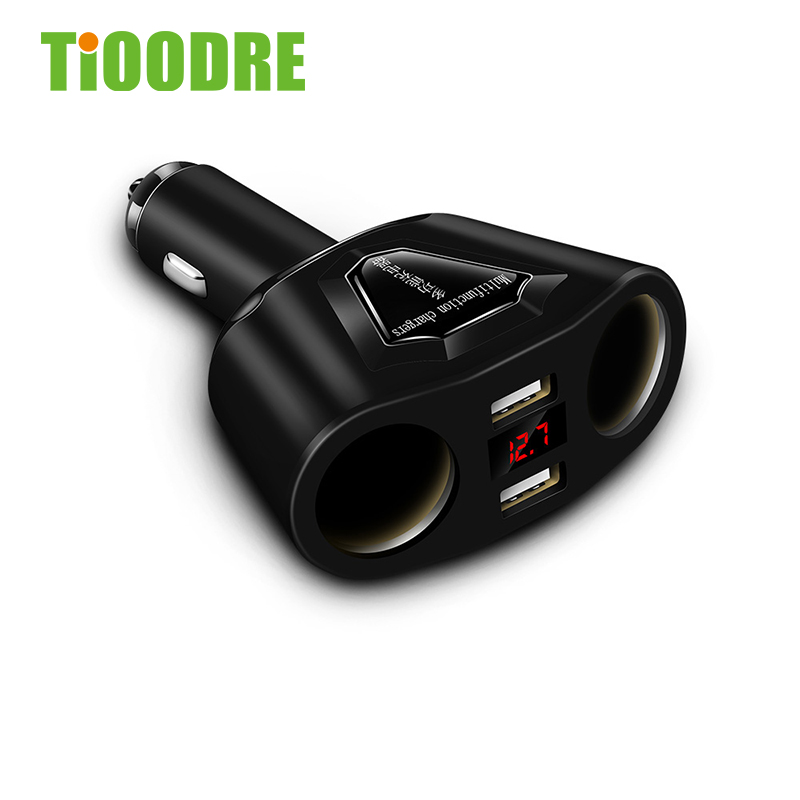 Electronic Cigarette Lighter Socket Splitter Double Cylinder Double 3.1A Dual USB Car Charger With Current Voltmeter Charger