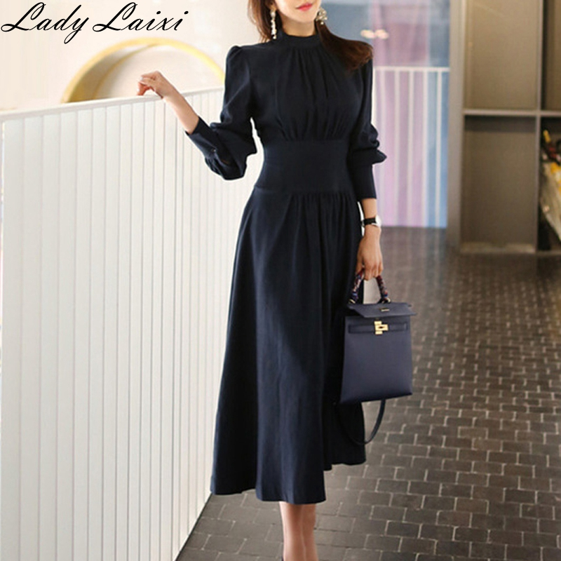 2019 Spring Solid A line Dress Women Plus Size Navy Blue Full puff Sleeve Stand neck Casual Office Dress Elegant Work Dresses
