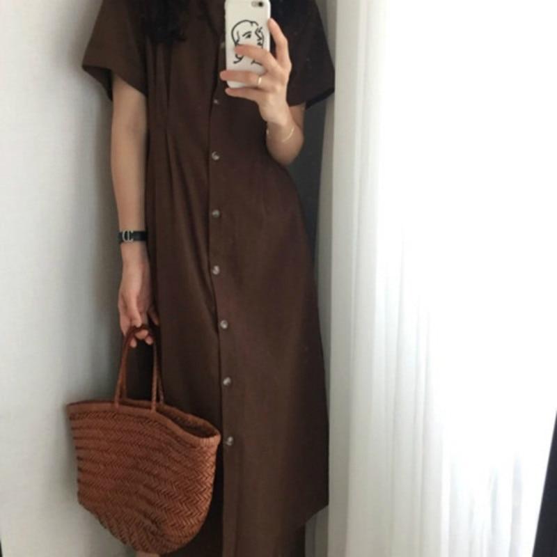 Coréen bref femmes été longue chemise Robe Femme Vintage moulante robes avec boutons Robe Femme Ete Sukienki Jurken