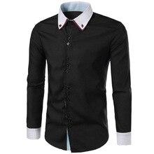 Men Shirt Long Sleeves 2017 Brand Shirts Men Casual Male Slim Fit Double collar design Chemise Mens Camisas Dress Shirts XXL 214