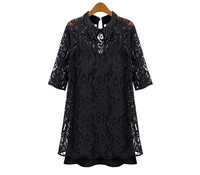 Women Plus Size 3XL XXXXL Dress Sexy Spring Autumn Black Lace Faux Two Piece Vestidos Dress