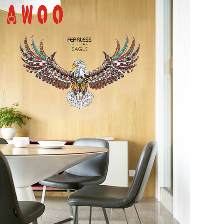 wall sticker 2017 Hot New Fearless Eagle TV Background Wall ...