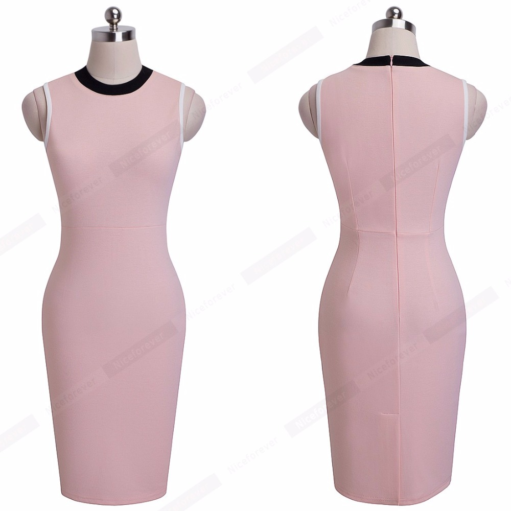 Fresh Casual Style Sleeveless Round Neck Light Pink Lady Sheath Fitted  Dress Classic Elegant Women Work Office Bodycon Dress B38-in Dresses from  Women s ... daa56b707472