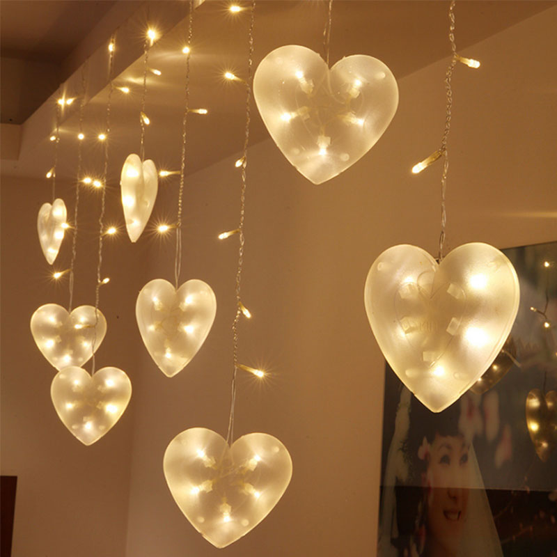 3M LED String Lights Love Heart Shape Strip Lamp Festival Holiday Curtain Light Wedding Party Room Decoration EU Plug --