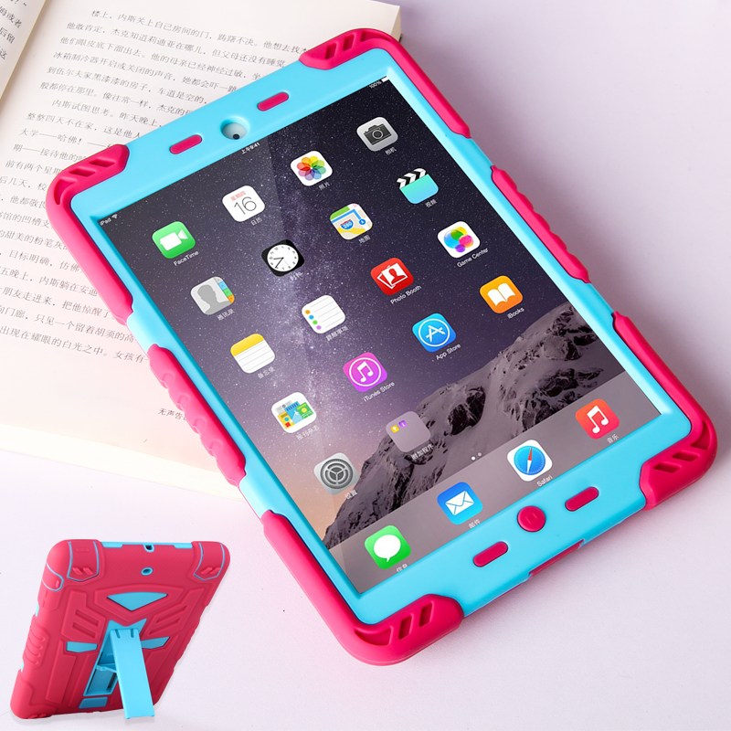 Screen protector Film +Shockproof Case For apple Ipad 6/air 2 Case Heavy Duty Silicon Hard Cover For iPad Pro 9.7/iPad 6 Cover tablet case for ipad air 2 a1567 extreme heavy duty shockproof rubber cover with stand hard cover case for ipad pro 9 7 inch