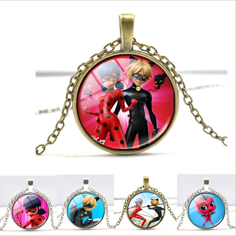 Miraculous Ladybug Cartoon Character Figurine Necklace Adrien Marinette Figure Pendant Lady Bug Cat Noir Christmas Gift oyuncak cute cartoon human figure pendant necklace white red