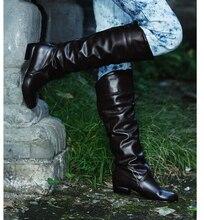 Модные женские сапоги, весенние сапоги, женские эластичные сапоги из искусственной кожи, женская обувь, черные, белые, римские сапоги до колена