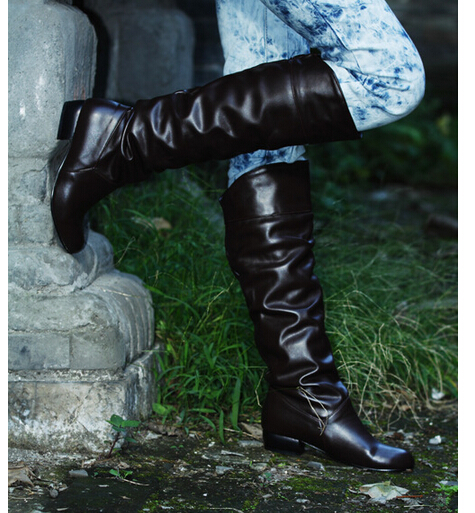 Fashion Women Boots Spring Boots Botas Female Stretch PU Leather Boots Shoes Woman Black White Roma Knee-Length Boots
