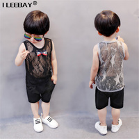 Baby Boys Handsome Clothing Boy Summer Clothes Set 2Pcs Silk Cotton Vest With Bow Cotton Solid