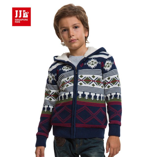 31855b05a70 boys coat cardigan jacket hooded outwear thicken warm clothing geometric  printing design for brand girl sweater