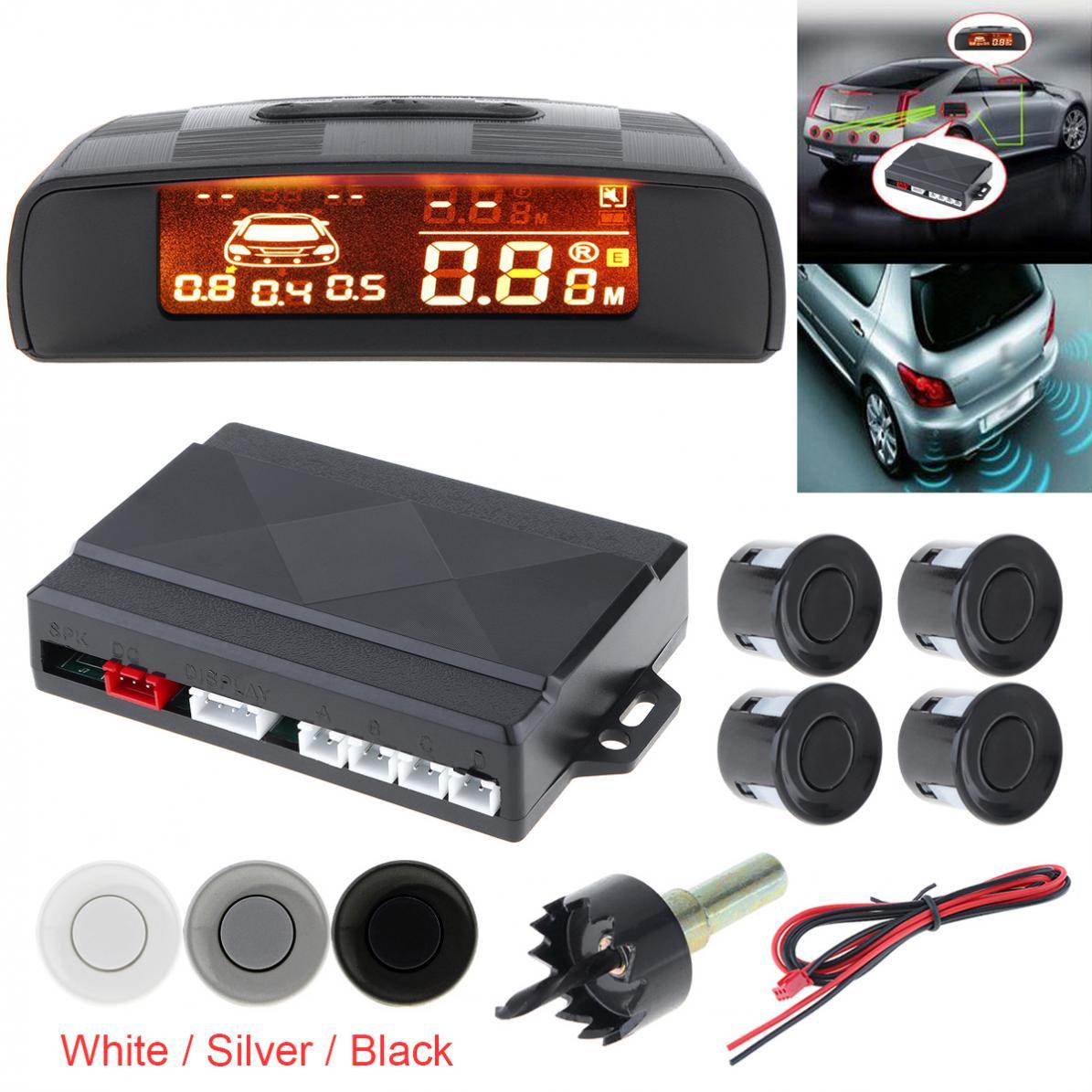 Affichage LCD Durable moniteur de voiture Kit de capteur de stationnement détecteur de Radar automatique 4 capteurs indicateur d'alarme système de Radar de secours inverse