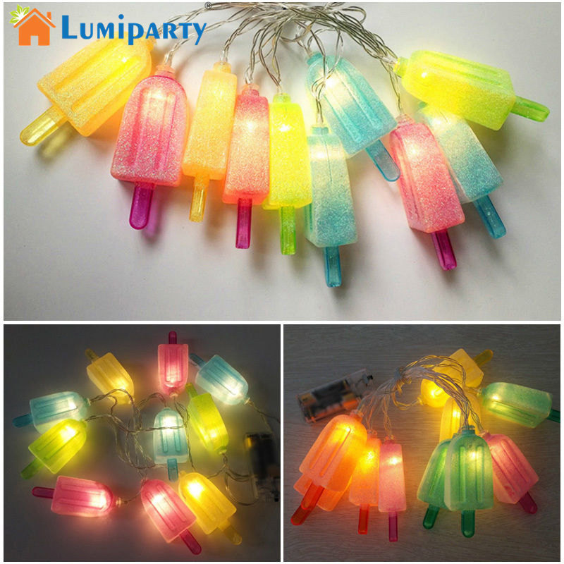 LumiParty 1pcs Lovely LED Ice Lolly String light Ice cream Light Summer Garden Decorative Battery Powered Party Birthday Decor