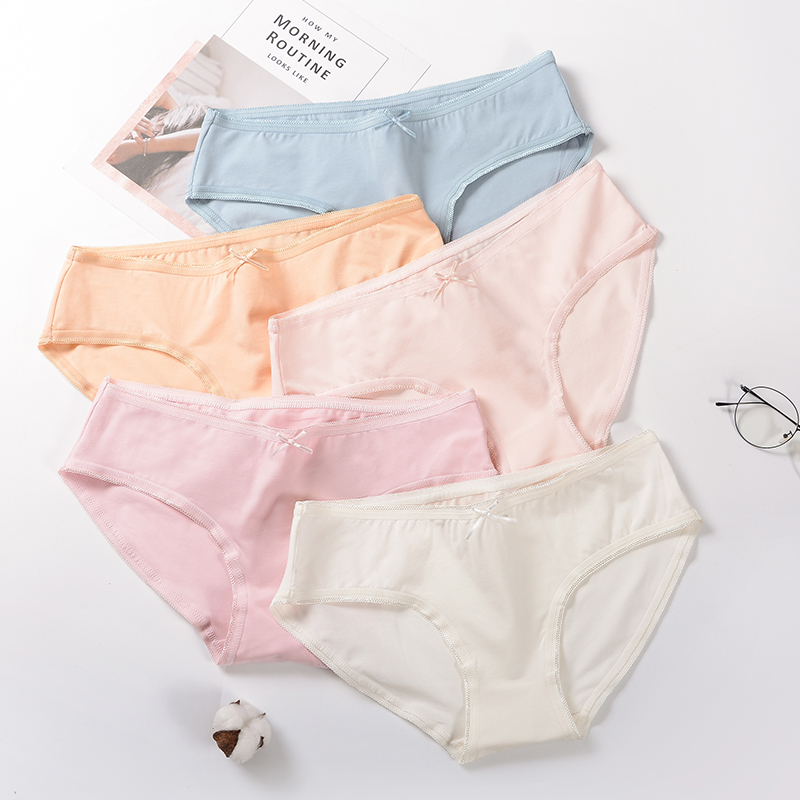 Women Underwear cotton   Panties   Briefs Girl Lingeries Shorts Underpant Solid color bow   Panty   Female women's pants