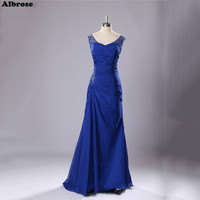 Royal Blue Chiffon Evening Dress Elegant Mother Of The Bride Dresses Sequined Beaded Evening Dresses Long