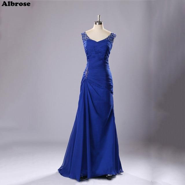 39cfb5cba0b2 Royal Blue Chiffon Abito Da Sera Elegante Madre della Sposa Abiti Con  Paillettes Bordato Vestiti Da ...