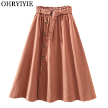 OHRYIYIE Autumn Winter Vintage Skirts Women 2019 Elegant High Waist Button A-line Skirt Female Solid Color Sun School Midi Skirt stylish high waisted solid color a line midi skirt for women