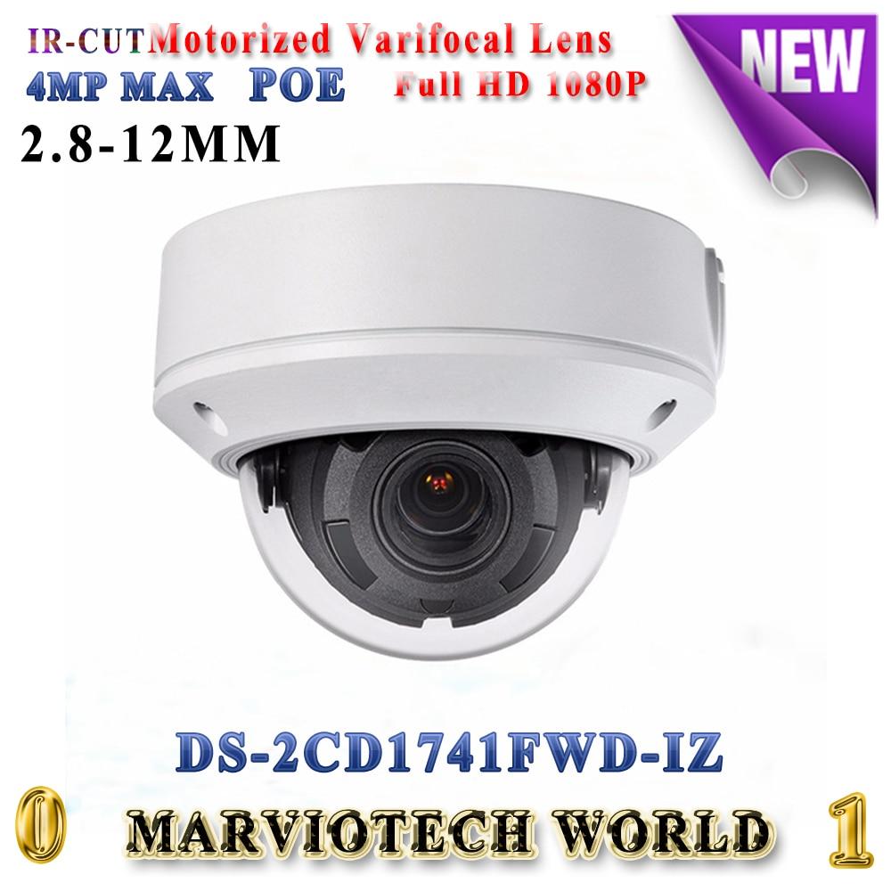 Hikvision DS-2CD1741FWD-IZ replace DS-2CD2745F-IZS 4MP dome IP Camera POE motorized varifocal lens H.264+ IP67 security camera видеокамера ip hikvision ds 2cd2642fwd izs цветная