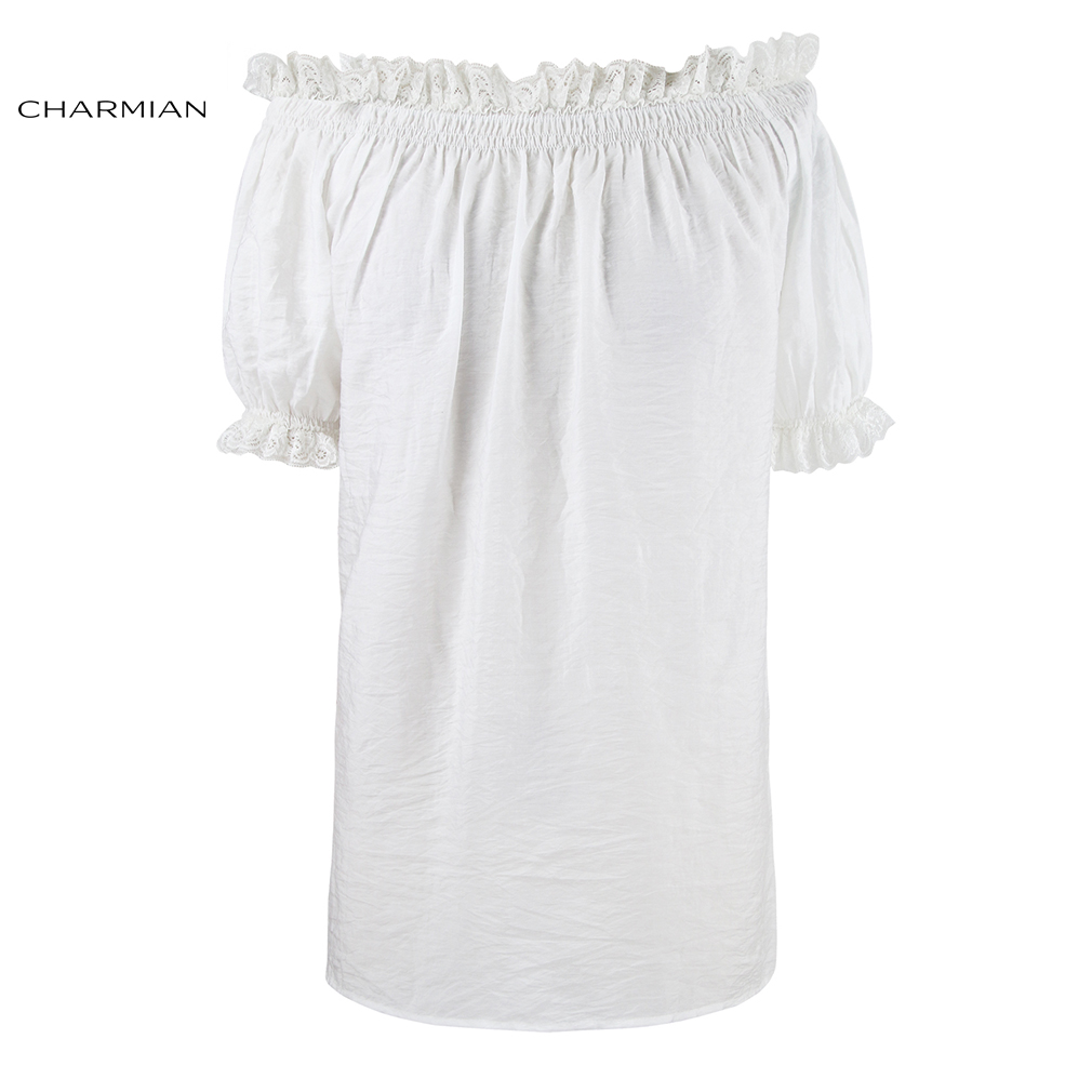 Charmian Summer White Off Shoulder Top Vintage Gothic Lolita Short Sleeve Victorian Lace Top Blouse Women Clothing