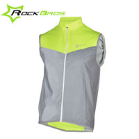 Rockbros Men Windproof Cycling Jacket Sleeveless Reflective Breathable Jacket Outdoor Sport Jersey MTB Road Ciclismo Wind