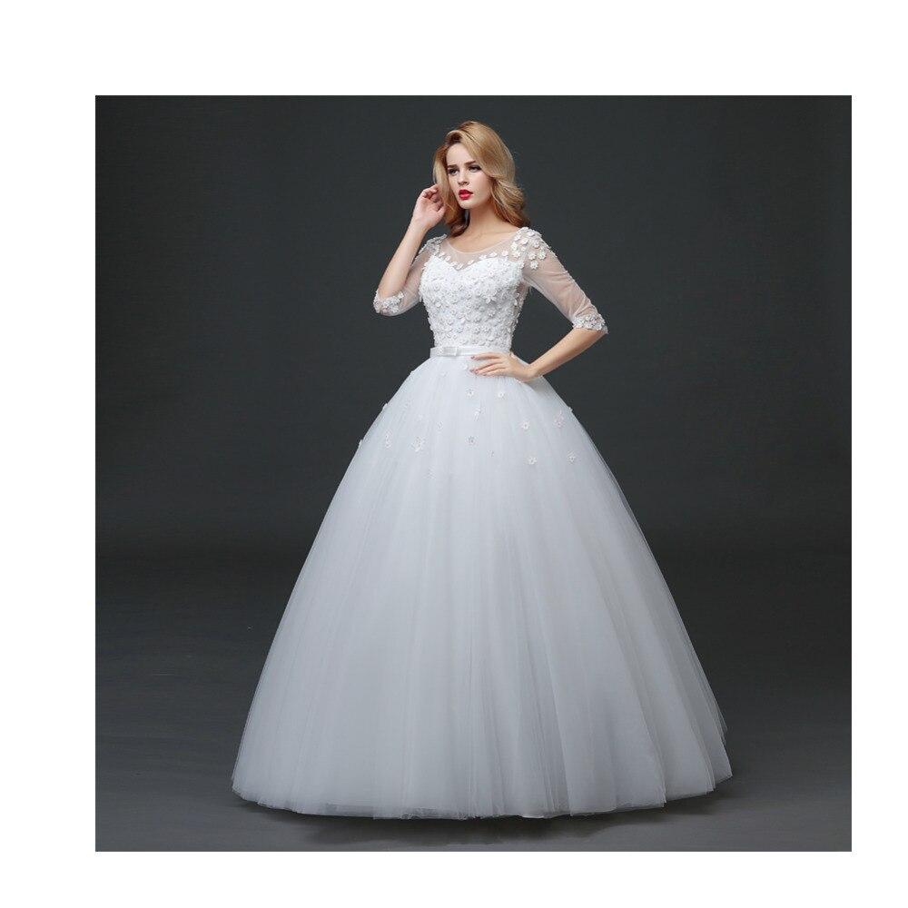 Vintage new women ladies zipper ivory lace wedding long for Long sleeve slim wedding dresses
