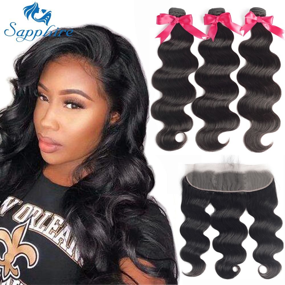 Sapphire Weave Bundles Hair-Extension Closure-Frontal Human-Hair