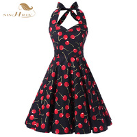 Summer Style Women Dresses Halter Rockabilly Swing Cherry Floral Dress Plus Size Dashiki Ladies 50s Vintage