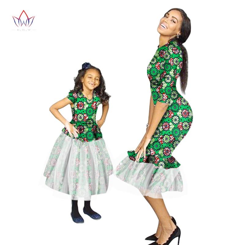 Suvi Uus moe pere sobivad riided brändi ema ja beebi perekond Riietus marli kangas Perekondlik Aafrika riided 5xlWY1416