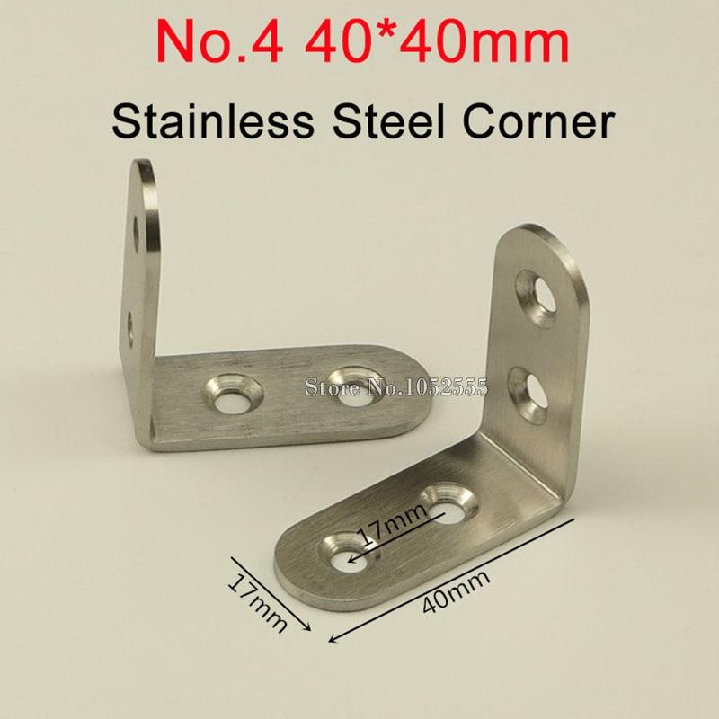 100pcs 40*40*17mm stainless steel angle bracket L shape brushed finish frame board support fruniture hardware K244