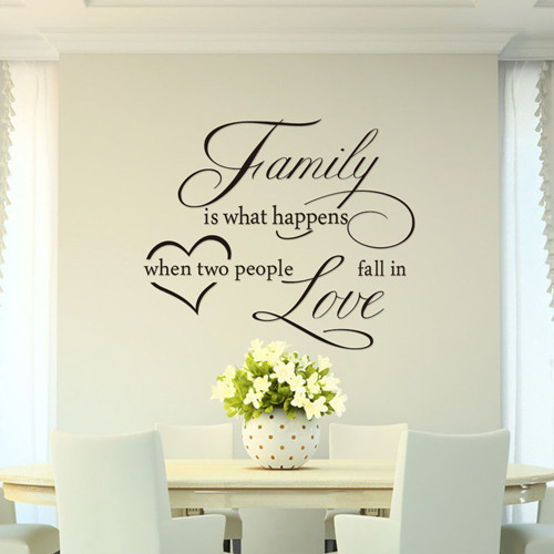 Family is what happens when fall in love quote wall decal decorative ...