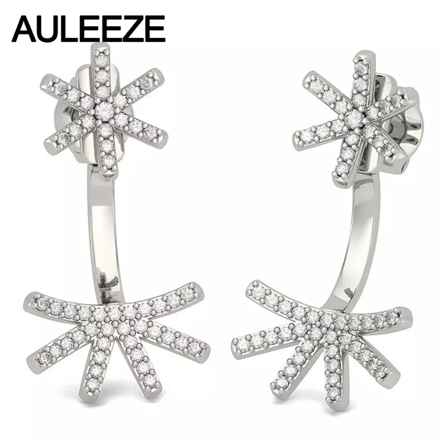 Flower Dual Purpose Earrings Real Natural Diamond Earring Jackets For Women Solid 14k 585 White Gold