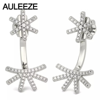 Flower Dual Purpose Earrings Real Natural Diamond Earring Jackets For Women Solid 14K 585 White Gold Earrings Fine Jewelry