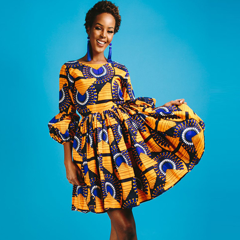 Plus size 3XL african print dashiki dress Indie Folk Ball Gown 2018 long  Puff Sleeve Traditional tunic party Fashion rockabilly 23b6065eac23
