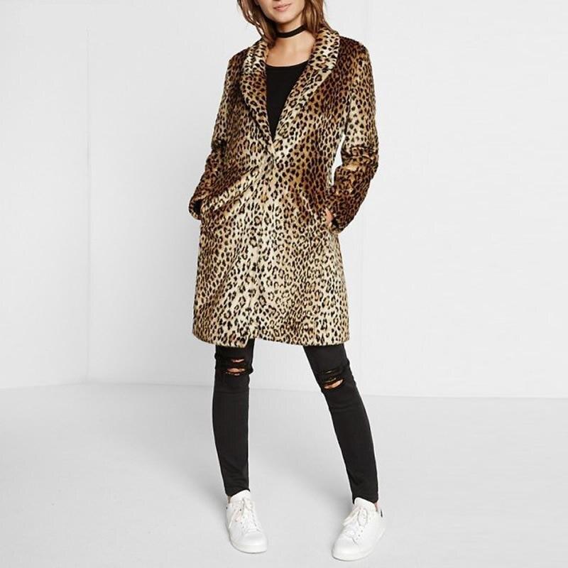 e8bc485ff18 Women Plus Size Coat Overcoat Brown Leopard Coats Winter Warm Slim Fake Fur  Long Coat Leopard Print Faux Fur Women Clothing
