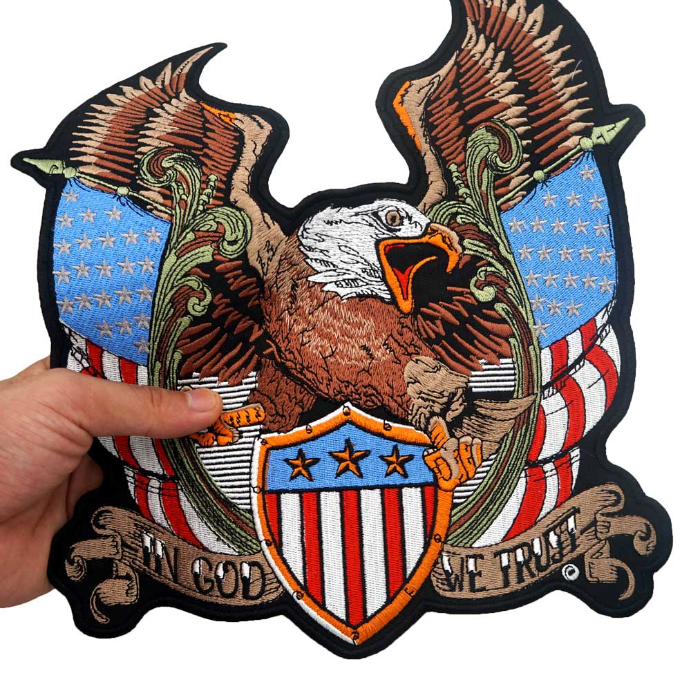 USA IN GOD WE TRUST AMERICAN EAGLE FLAG EMBROIDERED PATCH 3.75 INCHES